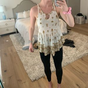 free people beige and white floral detailed tank